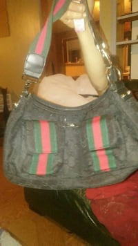gray, red, and green Gucci suede hobo bag