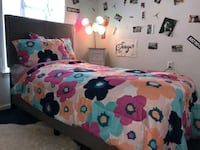 twin bed frame  mattress and box spring