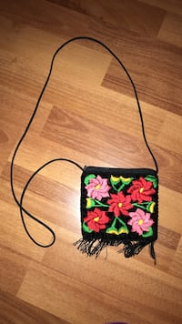 black, red and pink floral sling pouch 3716 km