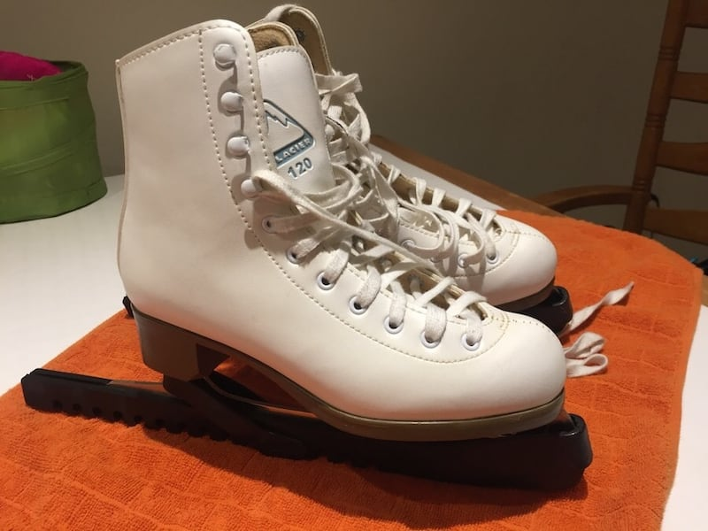 Size 5 and 6 two pairs of Skates with blade protectors 077d5a59-416d-46ca-85ba-0e65d88267c9