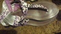 black-white-and-pink leopard print leather T-strap flat sandals 1084 mi