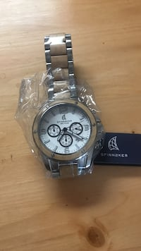 round silver-colored chronograph watch with link bracelet Vancouver, V5Z 4K2