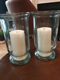 Two glass hurricane candle holders 41 km