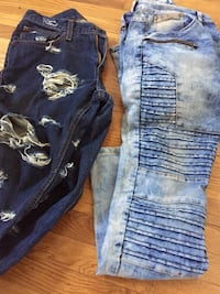 blue denim distressed jeans and white denim jeans Artesia, 90701