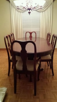 rectangular brown wooden table with six chairs dining set Toronto, M9B 6B7
