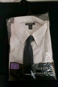 Xl 14-16 George boyd's looking sleeve dress shirt with clip on tie