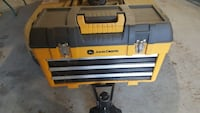 John Deere yellow and grey tool box like new.