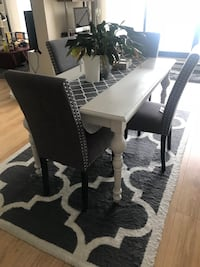 Dining table with chairs (sold) only rug is available for 90$