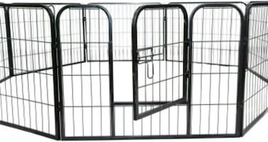 PawHut 8 Panel Pet Playpen Heavy-Duty Iron Indoor/Outdoor (32-inch)