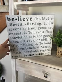 "Black and white ""Believe"" canvas wall hanging. Can hang or stand alone! 11.5"" x11.5"" Schererville, 46375"