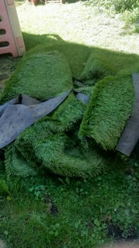 Several large artificial grass turf
