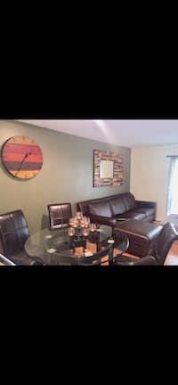 Glass Dinning table with 4 leather chairs Washington