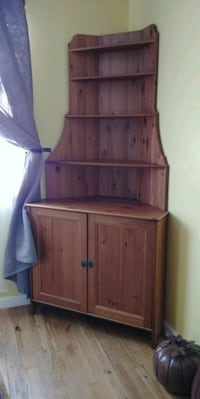 brown wooden cabinet with hutch 2290 mi