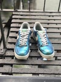 pair of blue-and-white Nike sneakers New York, 10456