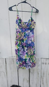 purple and blue floral spaghetti strap dress