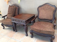 two brown wooden framed brown padded armchairs Albuquerque, 87114
