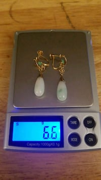 14kt gold jade earring made by A&S