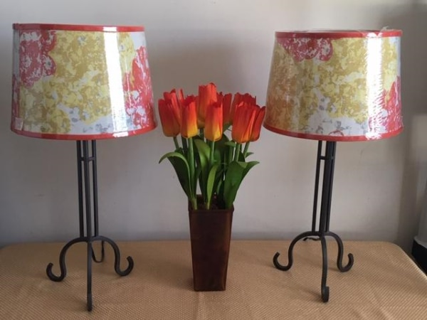 Table Lamps: Pair - Set of Lamps with New Floral Shades on Steel Gray Pewter Colored Base