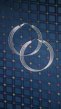 Pair of Silvery Hoop Earrings
