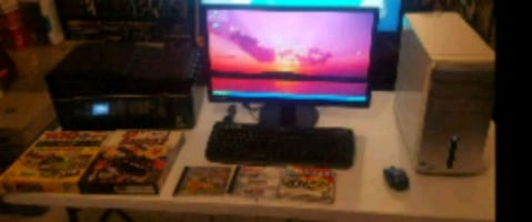 Desk top computer with led screen printer & games