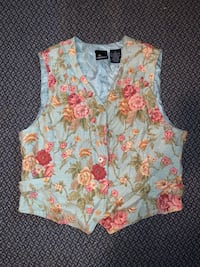 Blue Floral Vest with Silk Lining