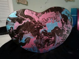 Tie-dyed heart stool