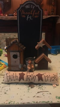 Chalkboard, two primitive bird houses, primitive angel, watering can and Faith, Family and Friends sign Zanesville, 43701
