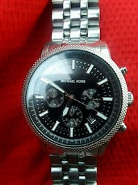 round silver-colored chronograph watch with link bracelet Manassas, 20110