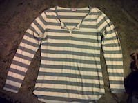 white and gray striped long sleeve top
