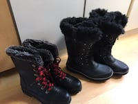 Ladies winter boots, new, size 9 - very warm; $40 for red lace up; $50 all black Mississauga