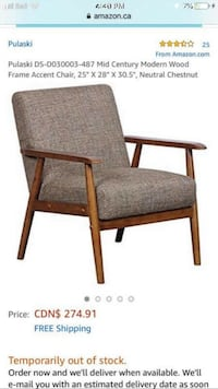Mid Century Modern Wood Frame Accent Chair Cambridge, N3H 0C3