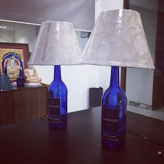 A pair of hand made lampshades.