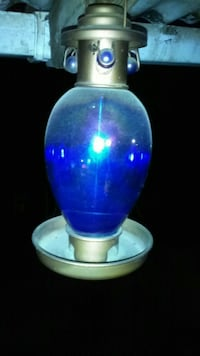 blue and brass table lamp base