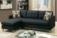 ASH BLACK POLYFIBER REVERSIBLE CHAISE SECTIONAL SO Rancho Cucamonga