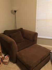 Brown Oversized Chair with Ottomen Columbus
