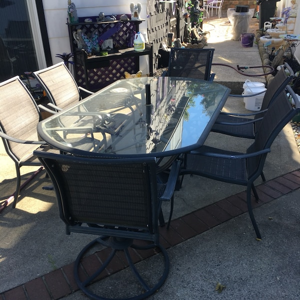 Used Rectangular Glass Top Table With Four Chairs Patio Set For Sale
