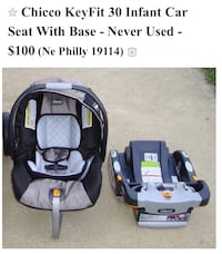 baby's gray and black Chicco car seat with base