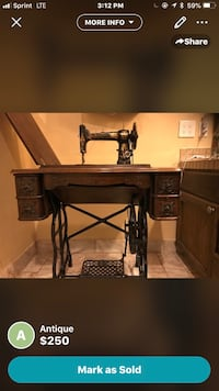 brown wooden treadle sewing machine Chula Vista, 91914