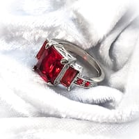 Beautiful Red Sapphire 10KT White Gold Filled Wedding Engagement Ring Fresno, 93704