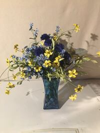 blue glass vase with blue and yellow silk flowers Niles, 44446