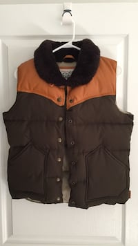 Orange and brown leather button-up bubble vest