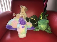 Assorted animal plush toy lot with a glow in a dark pillow  all for $10