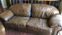 Brown leather 3-seat sofa Centreville, 20120