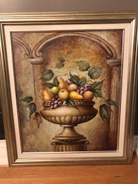 Brown wooden framed canvas painting of fruits Ajax, L1T 4E7