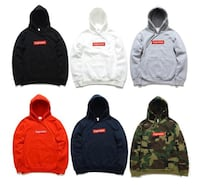 six assorted colors of Supreme pullover hoodies