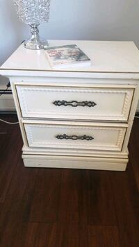 2 drawer hardwood nightstand,  off white color