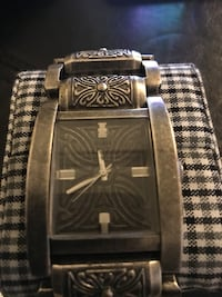 Rectangular silver-colored analog watch