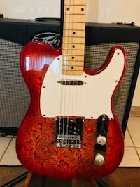 Hutchins Telecaster Guitar  Paisley Inspired design Plays Great Rare!  Silver Lake, 53170