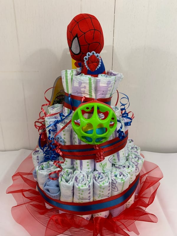 Used Spider Man Baby Diaper Cake For