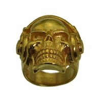 24K GOLD PLATED OVER REAL STERLING SILVER DJ SKULL RING BIKER JEWELRY BASS BEAT REMIX TURNTABLE EQUIPMENT Brampton